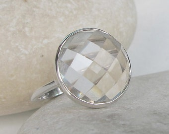 Rose Cut Engagement Ring- White Topaz Promise Ring- Unique Engagement Ring- Simple Engagement Ring- Alternative Engagement Ring