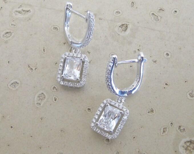Emerald Cut Bridal Earring- Wedding Earring- Cubic Zirconia Earring- Sterling Silver Earring- Halo Earrings- Wedding Engagement