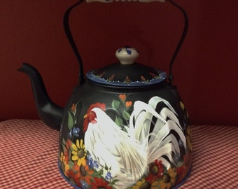 Hand Painted original design Country French Tole Painted white Rooster on vintage copper tea kettle lots of flowers painted both sides