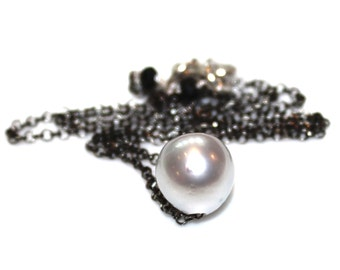 Dove South Sea Pearl Necklace Baroque Pearl Choker Oxidized Silver Necklace Single Pearl Jewelry Floating Pearl Necklace Everyday Necklace