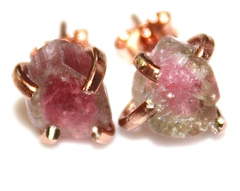 Hammer Cut Watermelon Tourmaline Stud Earring Organic Tourmaline Rainbow Tourmaline Tourmaline Jewelry Raw Tourmaline Prong Set Earring