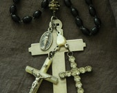 SALE use coupon code Spring10 for 10% OFF Upcycled Rosary Crosses Crucifix Assemblage Boho Necklace