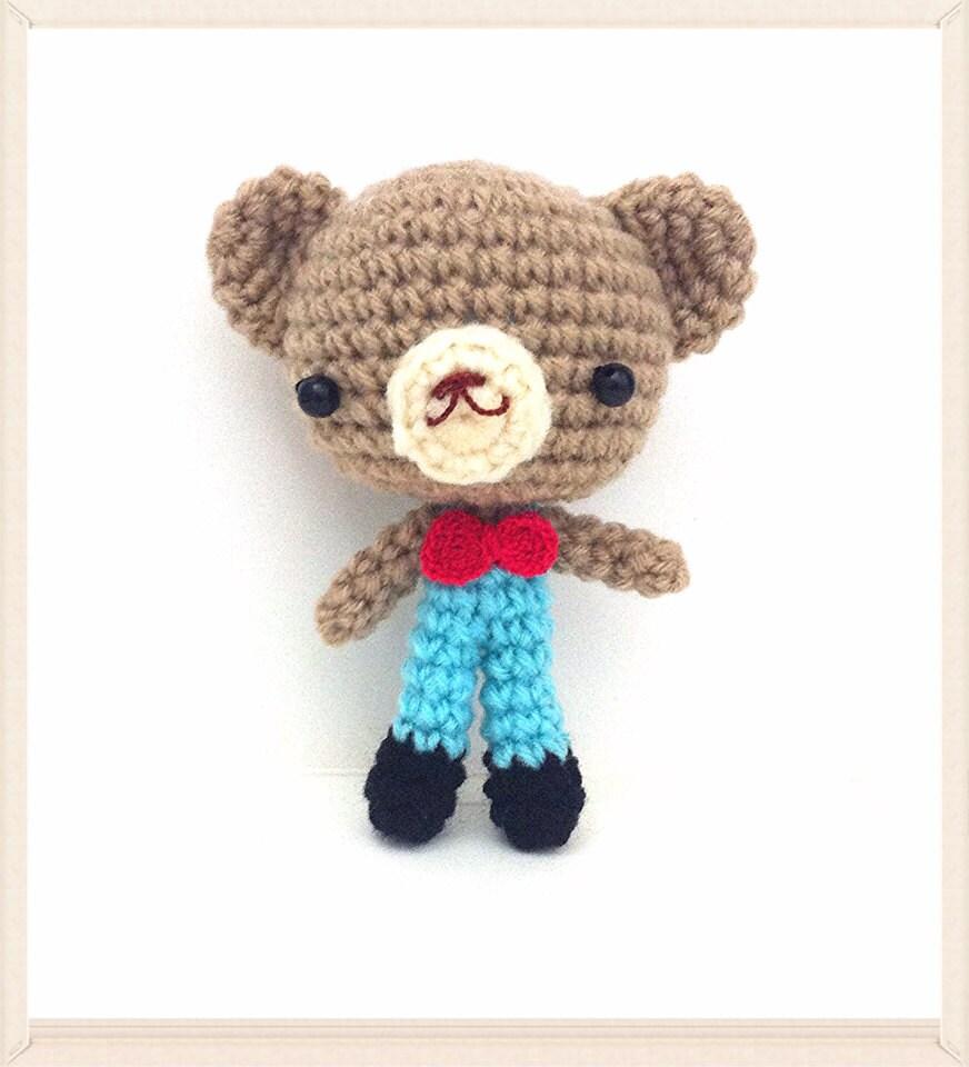 Amigurumi Yarn Pack : Crochet Bear Bag Charm Bear Amigurumi Doll by MakebyMarisa