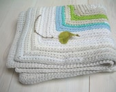 WHITE and pastel colours, rectangular rug made from recycled chothes , crochetg,  ruround rug, Mediterranean style