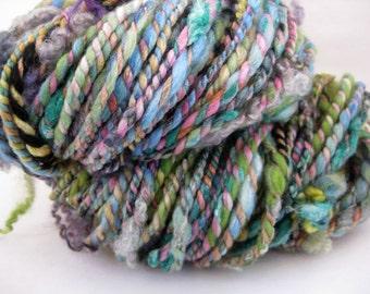 Handspun Textured Art Yarn, Lime Green, Blue and Pink