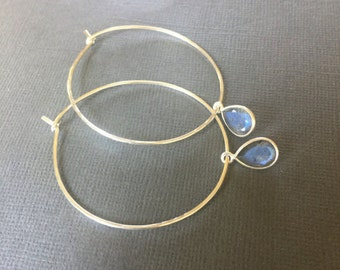 Hoop Earrings, Large Silver Hoop earrings, Labradorite tear drop dangling hoop earrings, thin gold hoop, Hammered  Sterling Silver Hoops