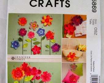Dimensional Flowers for Crafts or Clothing Jennifer Lokey for MCCALL'S CRAFTS M5869 uncut craft sewing pattern