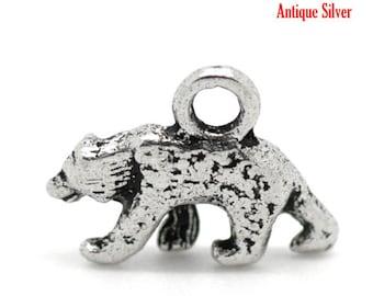 10 pieces Antique Silver Polar Bear Charms