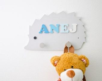 Kids wall hook - 2 peg storage rack - Cute Stuff Baby - Woodland animals nursery - Hedgehog nursery wall decoration - Forest bedroom decor