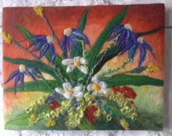 Wet felted wall art, summer flowers, textured art on canvas, fibre art