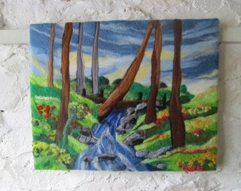 felt painting, fiber art, wet felted picture, woodland stream 20 x 16 inches