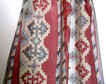 Armenian Carpet Hand Painted Silk Scarf.Red and Blue silk scarf.Made for order!