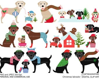 Christmas labrador retriever Winter labrador retriever Digital clip art for Personal and Commercial use - INSTANT DOWNLOAD