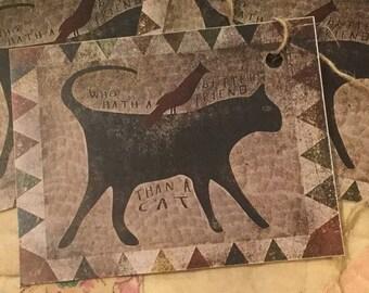Vintage Black Cat Hang Tags
