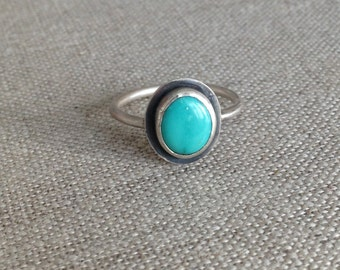 Silver and Turquoise Ring - Sterling Silver - Kingman Turquoise