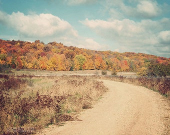 Fall photography, autumn, landscape photo, country decor, Midwest, wall art - Fall Road