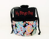 Monogrammed DRAWSTRING Bingo Bag Tote/ Craft Bag in Bingo Cards