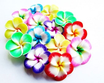 7pcs Mixed Color Fimo Flower Beads 25mm Assorted Polymer Clay Beads Flower Beads Fimo Beads Crafts Supply