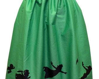 Green Nostalgia Midi Border Full Skirt