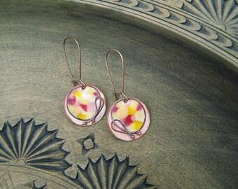 dangle enamel earrings with wirework