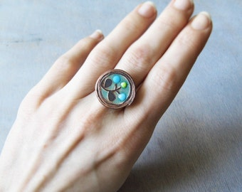 etched flower ring with turquoise enamel and blue green dots FREE SHIPPING