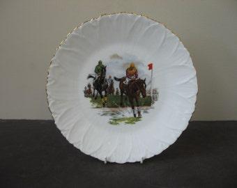 Vtg LIMOGES France Porcelain HORSE RACING Plate No. 2 Leaf Finish