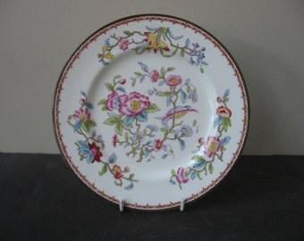 "Vtg COALPORT Bone China ""PEMBROKE"" 6316 Hand Painted Salad Plate Bird Flowers"