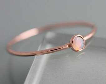 Opal 14k Rose Gold Ring Birthstone October Solid Rose Gold Thin Stacking Ring Spacer Ring 3mm Stone 1mm Band Eco Friendly Recycled