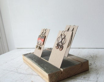 Earring Jewerly Card Holder - Salvaged Rustic Green Wood - Jewelry Card Display Wood Base  - Quantities Ready to Ship
