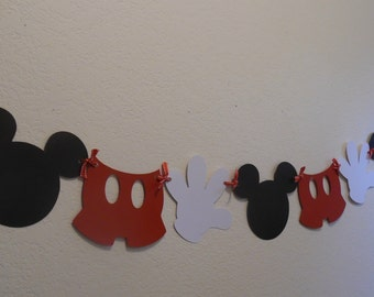 Mickey Photo Prop Banner- Mickey Mouse Birthday Banner- Mickey Mouse Party