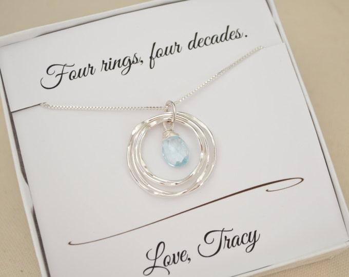 40th Birthday Gift for Her, December Birthstone, Blue Topaz Birthstone Necklace, 40th Birthday Gift for Wife,Birthstone Jewelry, Best friend