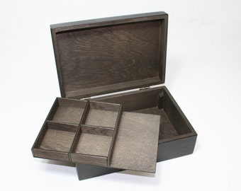 Handcrafted Jewelry Box / Box with Removable Layer / Dark Brown Box