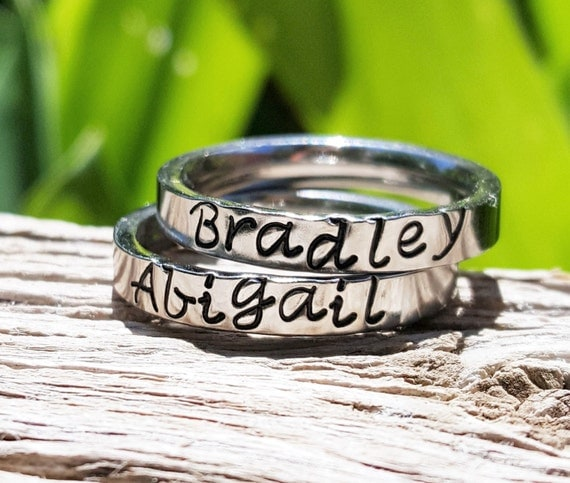 Stackable Name Rings Stacking Rings Personalized Stacking