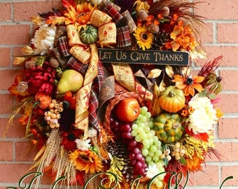 Give Thanks Cornucopia Wreath, Large Autumn Thanksgiving floral, Fall Wreath, Grapes, Pumpkins, Sunflowers, wheat, Luxury door Wreath