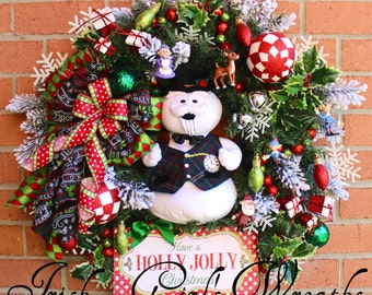 Sam the Snowman Holly Jolly Christmas Wreath, Rudolph, Santa, Mrs. Clause, Elves, Large Christmas Wreath, Christmas Swag