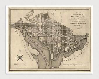 Old Washington DC Map Art Print 1793 Antique Map Archival Reproduction