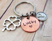 Lucky Penny Clover Charm Personalized Initial Keychain, Customized Good Luck Penny Keyring,