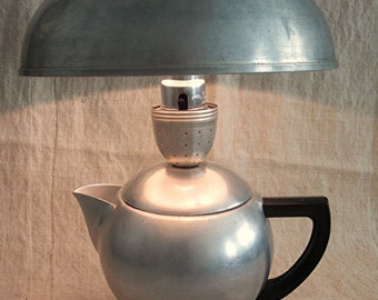 Aluminum Lamp Upcycled From Vintage Aluminum Tea Kettle