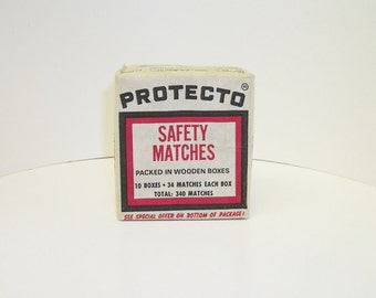 Vintage PROTECTO Diamond Safety Matches Wooden Boxes  Sealed