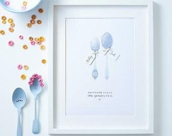 Personalised Anniversary Art - Custom Wedding Illustration - Anniversary Spoons - Big Spoon Little Spoon - Valentines art - Wedding spoons