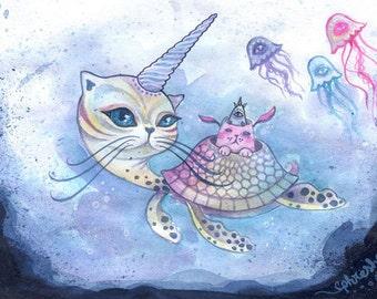 The Purrr-tle - small art print, hybrid animal, cat illustration, digital art print, small art, mini art print, trippy art, spirit animal