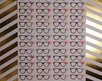 Nerd Glasses with Bows Planner Stickers