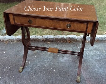 Antique Writing Desk / Vanity with Harp Style Legs