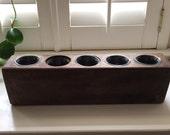 Vintage Wooden Candleholder / Vintage Old Mexican Sugar Mold / Rustic Primitive Wooden Candleholder