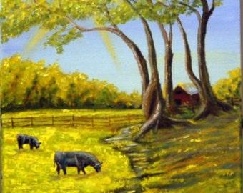"Oil Painting, Original Art, Original Painting, Creek, Cows, Farm, ""Spring Fed Creek"""
