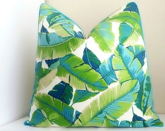 Outdoor pillow cover, Tropical palm print with Aqua trim detail - All sizes available - fabric both sides - Select your size at checkout