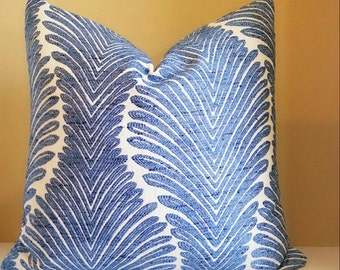 Beach House Decor - Cerulean Blue Embroidered Blue pillow -  Select your size during checkout - Fabric both sides