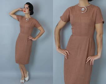 1950s Press My Button dress | vintage 50s 'Lampl' fawn brown and white day dress | small