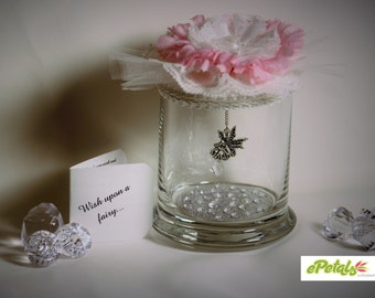 Fairy jar wishing jar fairy wishing jar birthday party pink shabby chic party favor wedding favors gift inspirational