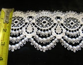 Bridal Lace Trim, White By The Yard, Wide Guipure Lace Fabric, Venice Crafting Laces